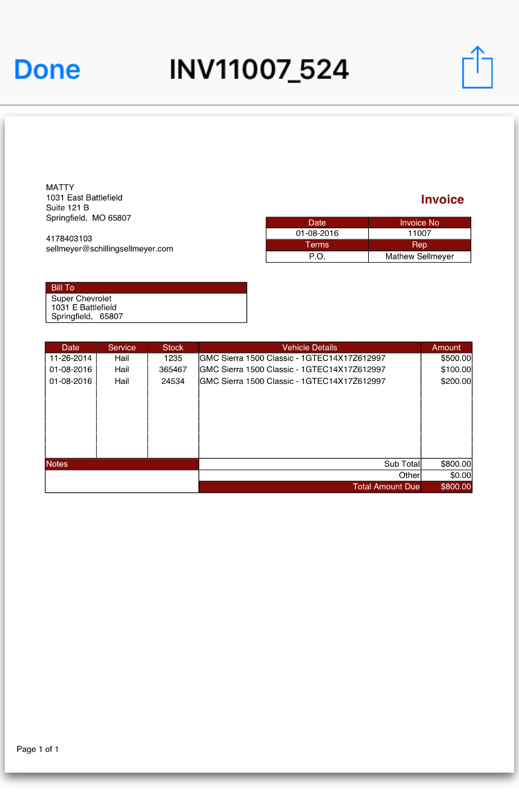 Print Invoice Screen